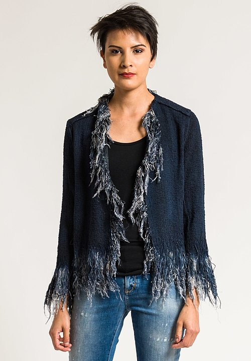 Avant Toi Cotton Short Fringe Jacket in Blue Navy