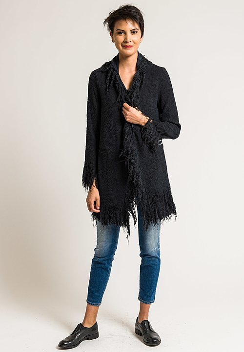 Avant Toi Cotton Fringe Jacket in Nero