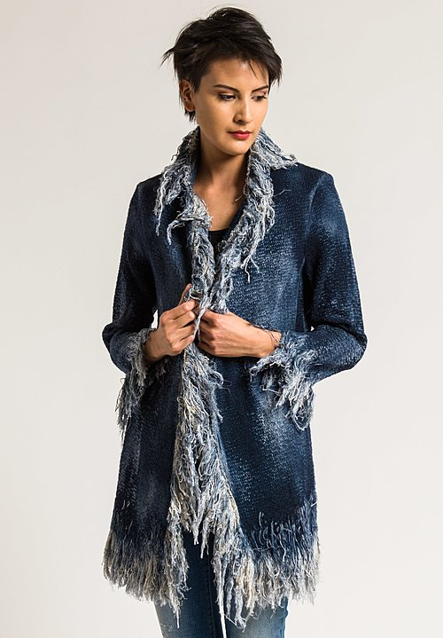 Avant Toi Cotton Fringe Jacket in Blue Navy