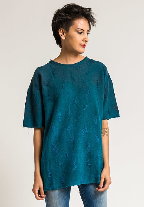 Avant Toi Linen/Cotton Distressed Top in Turquoise