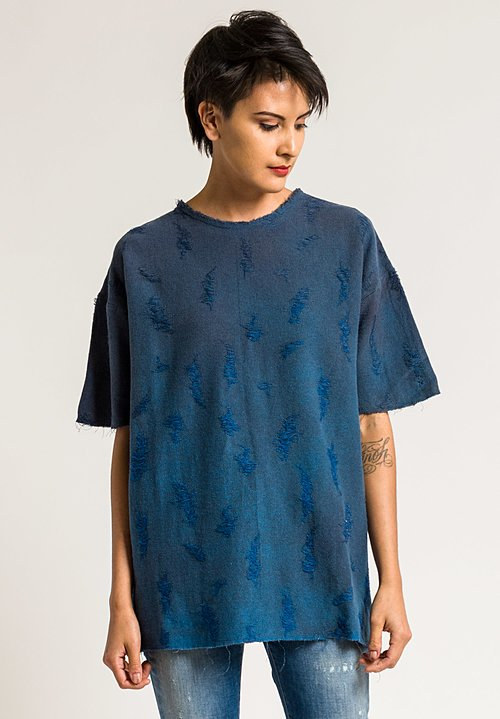 Avant Toi Linen/Cotton Distressed Top in Cuba