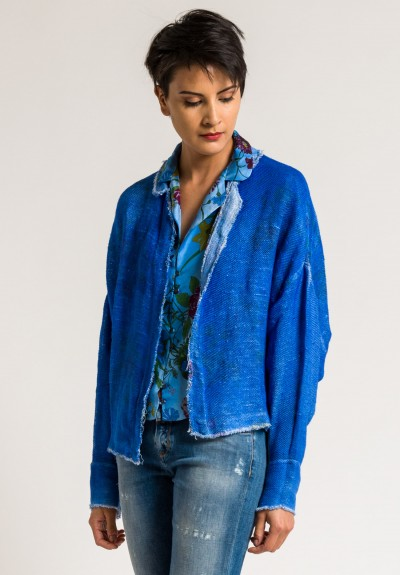Avant Toi Linen/Cotton Mesh Floral Print Jacket in China