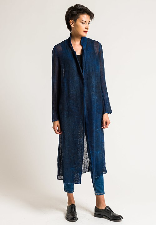 Avant Toi Linen/Cotton Long Mesh Jacket in Cuba