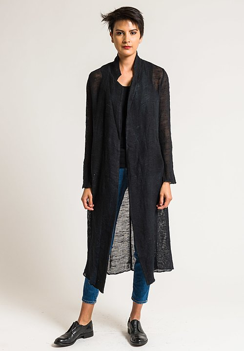 Avant Toi Linen/Cotton Long Mesh Jacket in Nero