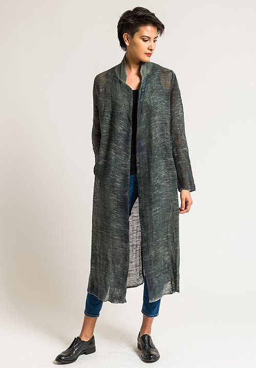 Avant Toi Linen/Cotton Long Mesh Jacket in Military