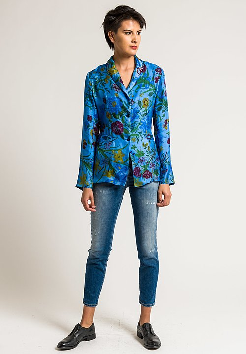 Avant Toi Silk Floral Printed Jacket in Cuba