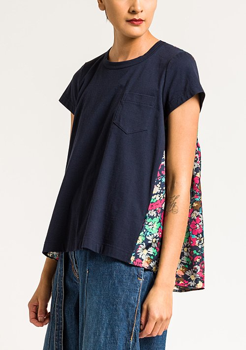 Sacai Floral Gathered Back T-Shirt in Navy