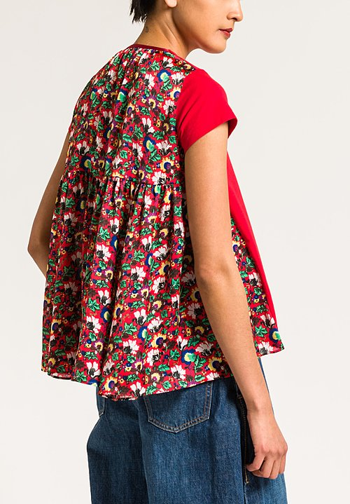 Sacai Floral Gathered Back T-Shirt in Red