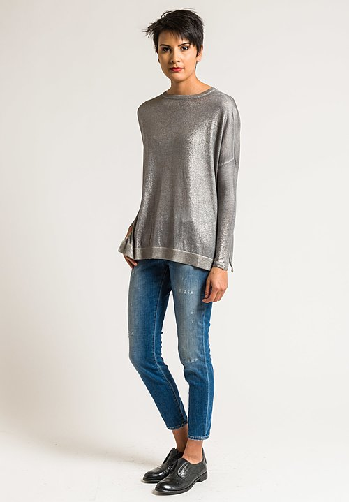 Avant Toi Cashmere/Silk Lightweight Metallic Sweater in Delfino/Silver