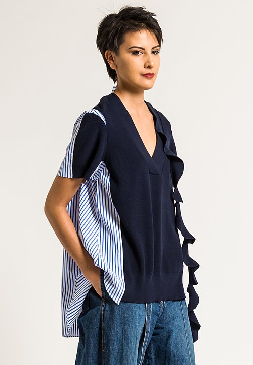 Sacai Knit Shirting Pullover in Navy Stripe