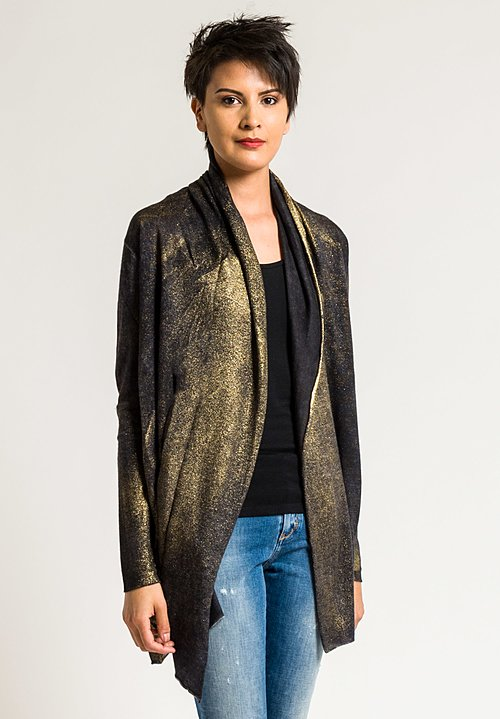 Avant Toi Cashmere/Silk Lightweight Metallic Cardigan in Nero/Gold