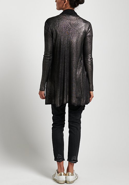 Avant Toi Lightweight Metallic Cardigan in Nero/Silver