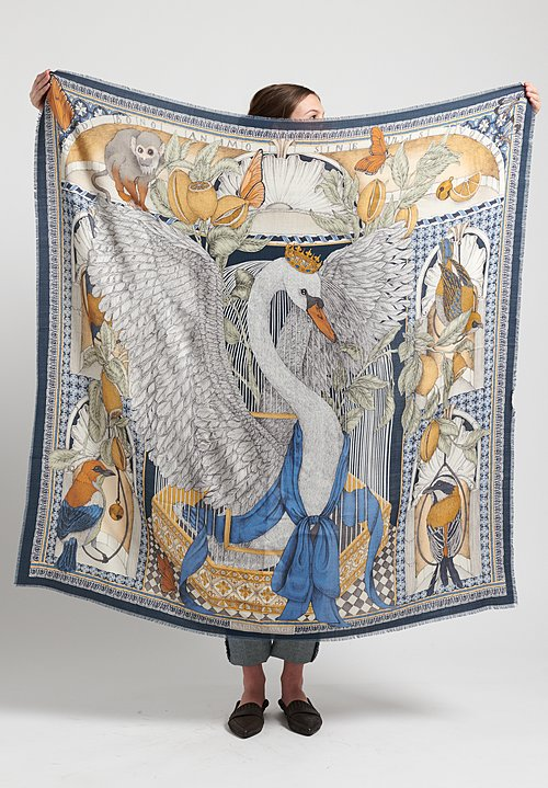 Sabina Savage Wool/Silk Aviarium Maria Scarf in Indigo/Ochre