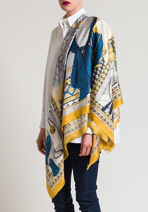 Sabina Savage Silk Twill Aviarium Maria Scarf in Lemon/Bone