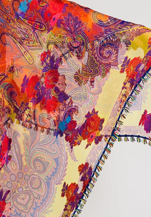 Etro Paisley Scarf with Colorful Tassel Fringe in Multicolor
