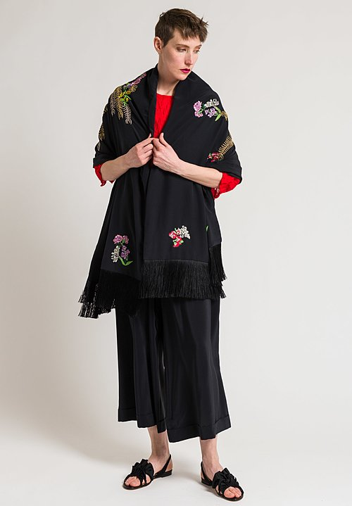 Etro Silk Embroidered Flower Fringe Shawl in Black
