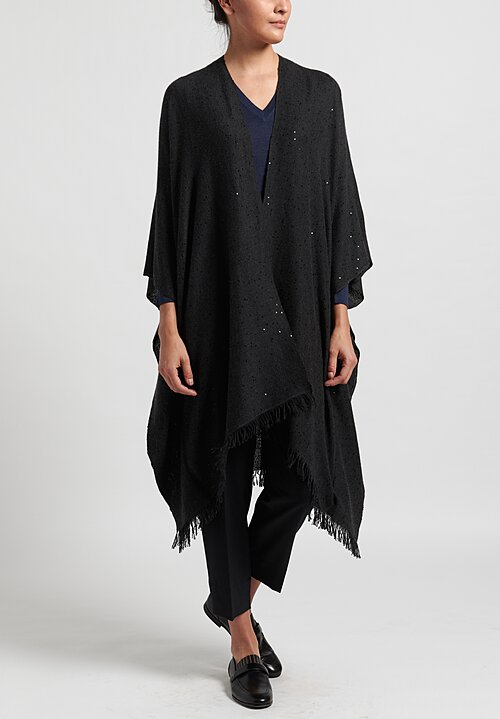 Brunello Cucinelli Cashmere/Silk Paillette Poncho in Anthracite