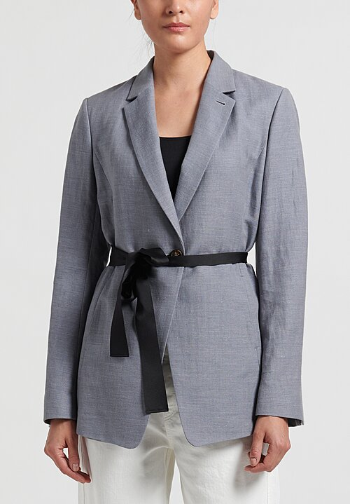 Brunello Cucinelli Cotton/Linen Woven Jacket in Grey