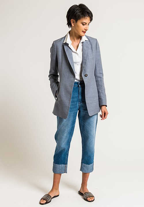 Brunello Cucinelli Cotton Relaxed Fit Jean in Light Blue