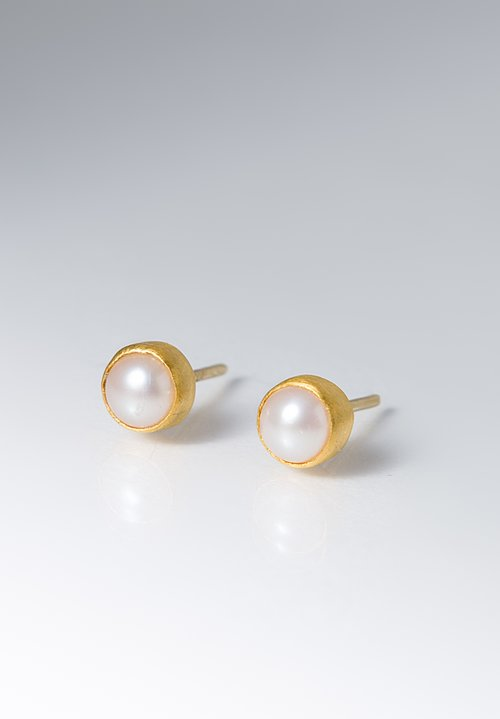 Yossi Harari 24K, Pearl Stud Earrings