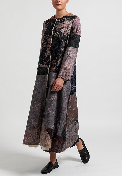 By Walid Silk Chinese Wall Panel Tari Coat in Dark Purple