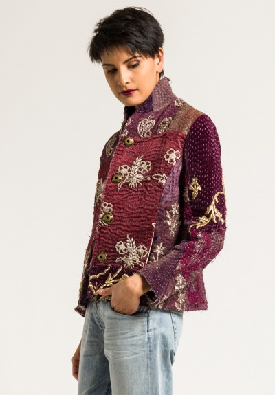 By Walid Silk Ecclesiastical Haya Jacket in Dark Red