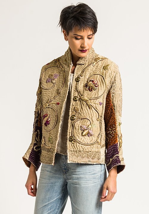 By Walid Silk Ecclesiastical Haya Jacket in Dark Natural