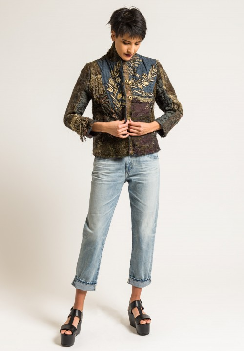 By Walid Silk Ecclesiastical Haya Jacket in Dark Grey