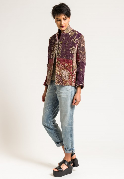 By Walid Silk Ecclesiastical Haya Jacket in Dark Purple