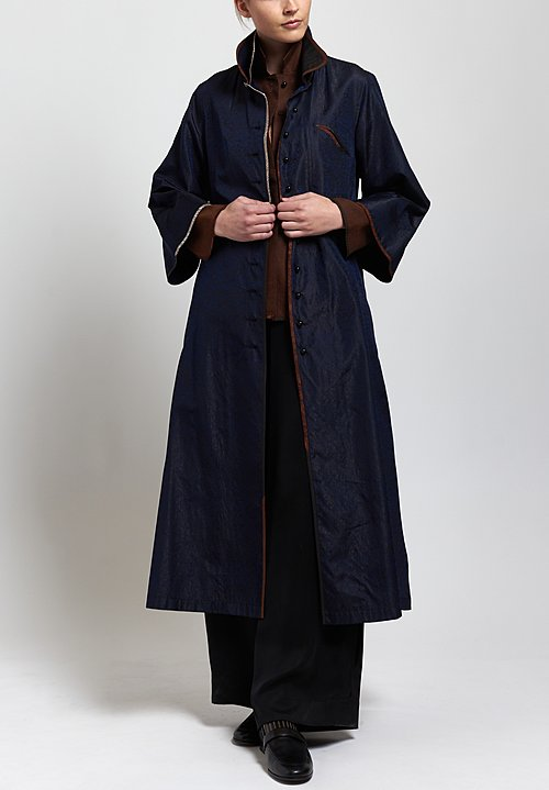 Sophie Hong Long Textured Coat in Blue