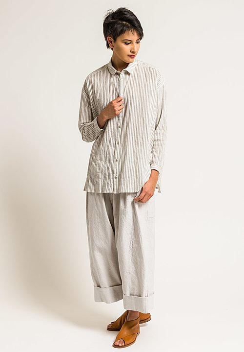 Toogood Ticking Stripe Long Draughtsman Shirt in Coal