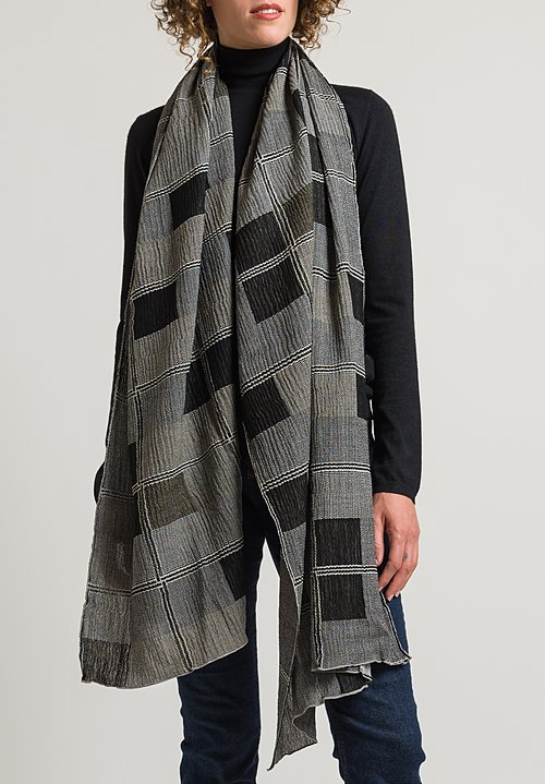 Nuno Window Frames Shawl in Black/Beige