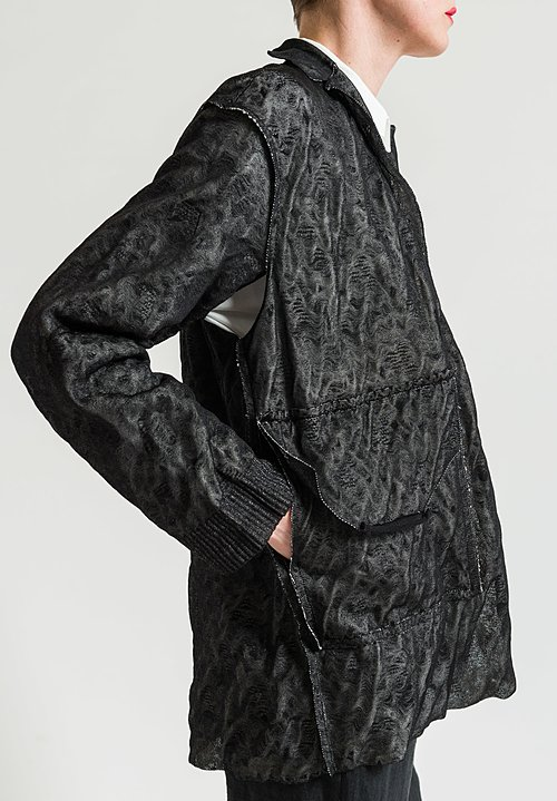 Boboutic Paper/Cotton Open Jacket in Black/White