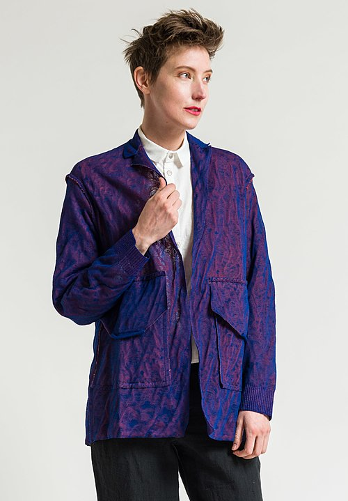 Boboutic Paper/Cotton Open Jacket in Blue/Orange