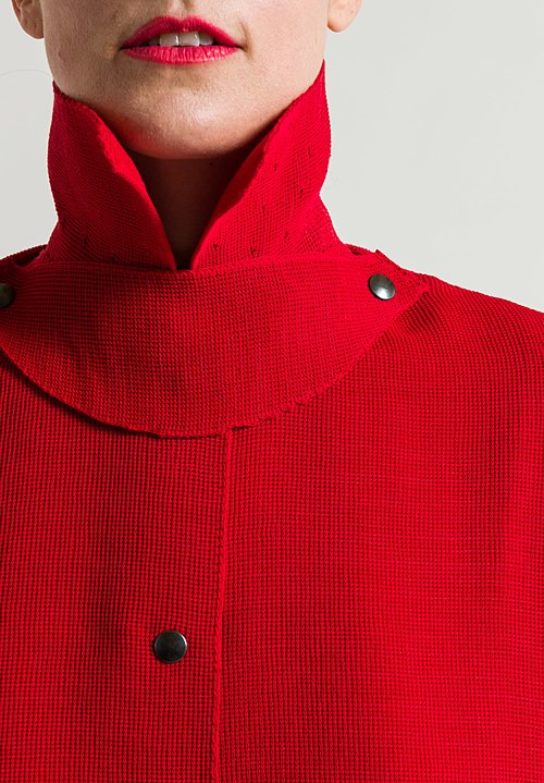 Boboutic Textured Duster Coat in Red