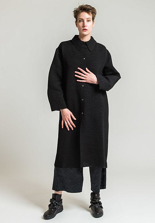 Boboutic Textured Duster Coat in Black