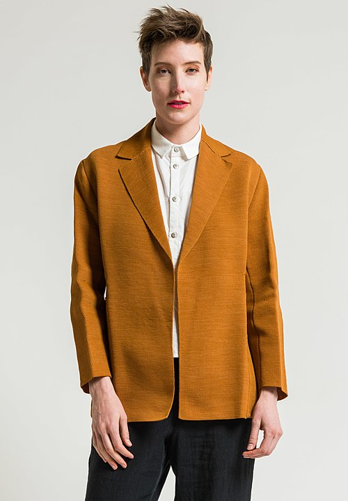 Boboutic Textured Open Jacket in Ochre