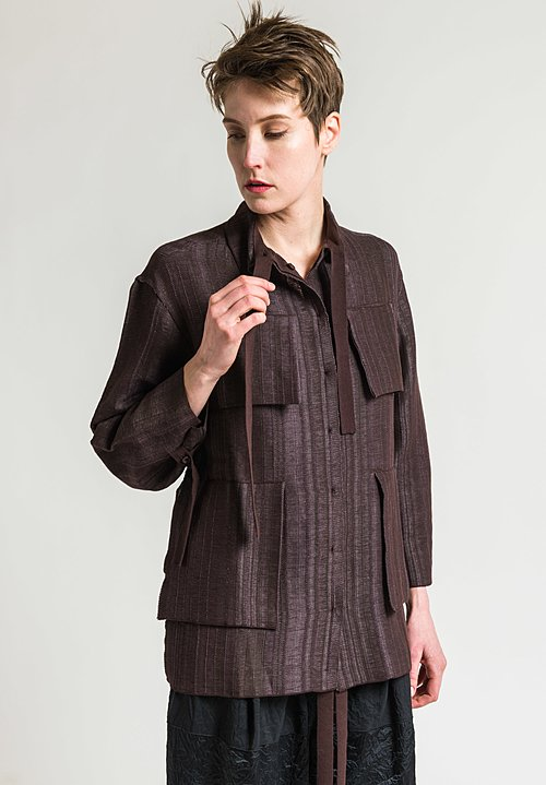 Boboutic A-Line Jacket with Pockets in Grey/Brown