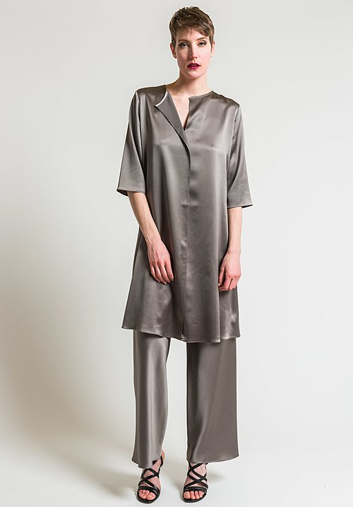 Peter Cohen Silk 3/4 Sleeve Ethic Tunic in Lead