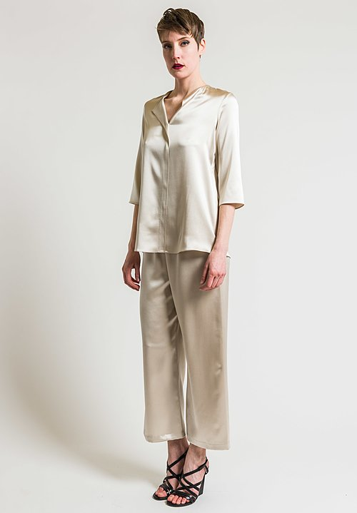 Peter Cohen 3/4 Sleeve Silk Blouse in Ecru