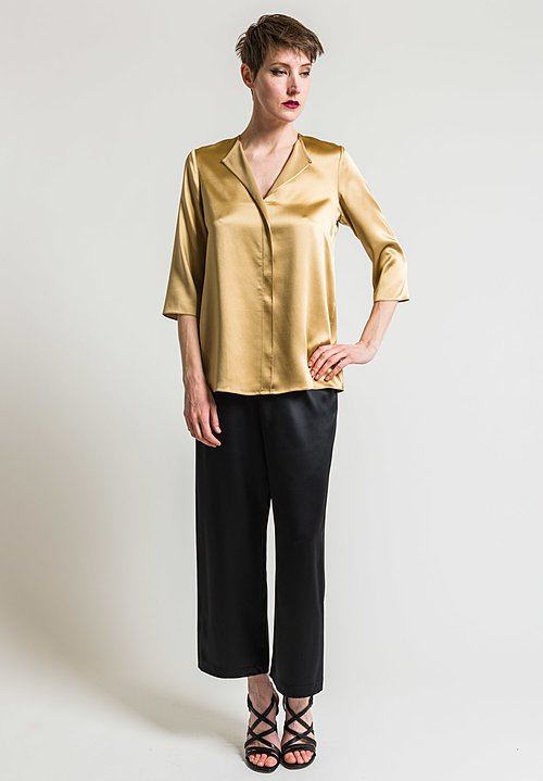 Peter Cohen 3/4 Sleeve Silk Blouse in Gold