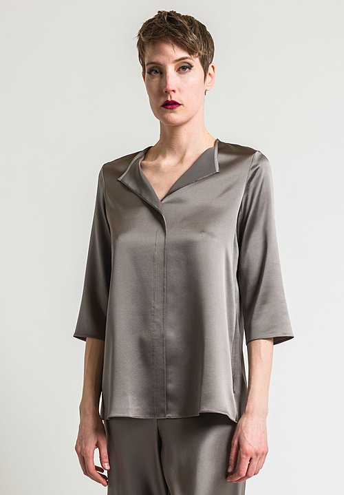 Peter Cohen 3/4 Sleeve Silk Blouse in Lead