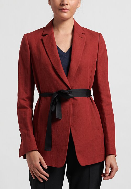 Brunello Cucinelli Cotton/Linen Woven Jacket in Red
