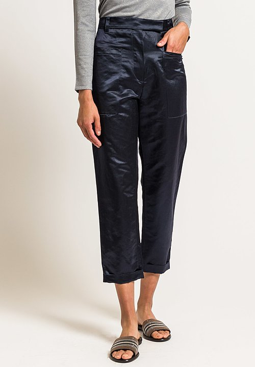 Brunello Cucinelli Cropped Satin Pants in Navy