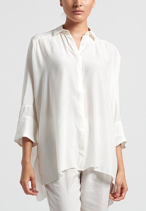 Shi Cashmere Long Silk Shirt in White