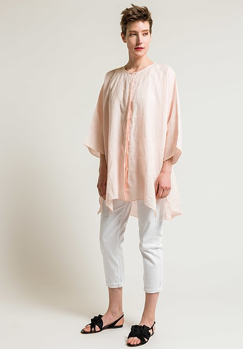 Shi Cashmere Long Shirt Jacket in Pink