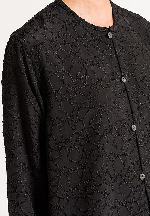 Nuno Patchwork Embroidery Tunic In Black Santa Fe Dry