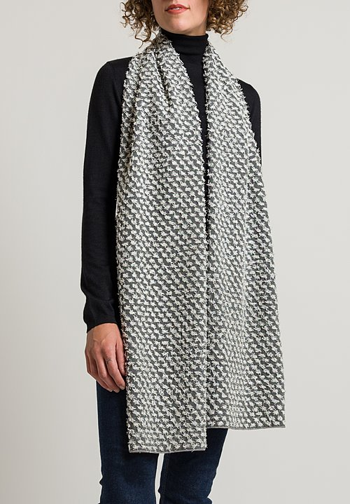 Nuno Silk Papilio Scarf in Grey/ White