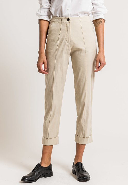 Peter O. Mahler Cuffed Pintuck Pants in Sand