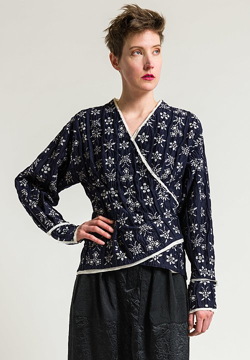 Ms Min Knotted Wrap Jacket in Indigo Blue